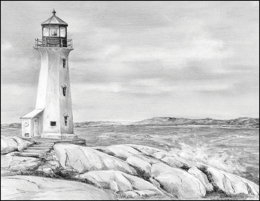 Line Drawing Lighthouse : Pencil by number kits