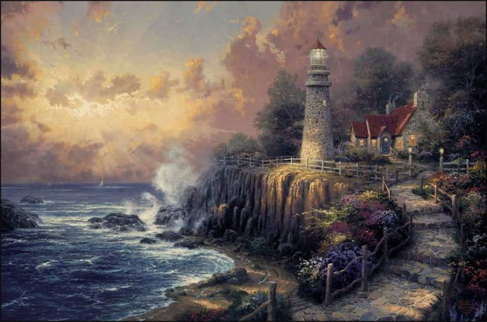 Thomas kinkade paint by number kit light of peace for Pre printed canvas to paint for adults