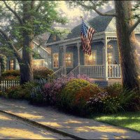 Thomas Kinkade Paint By Number Kits Home Town Pride