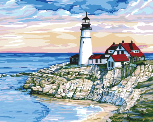 Nautical paint by number kits for all those sea lovers for Pre printed canvas to paint for adults