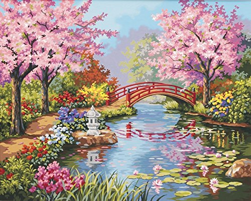 Scenery paint by number kits absolutely beautiful for Pre printed canvas to paint for adults