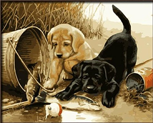 Dog paint by number kits paint by number for adults for Pre printed canvas to paint for adults