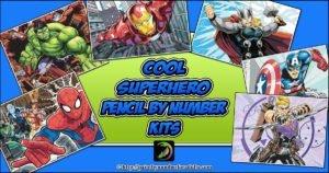 Superhero Pencil by Number Kits