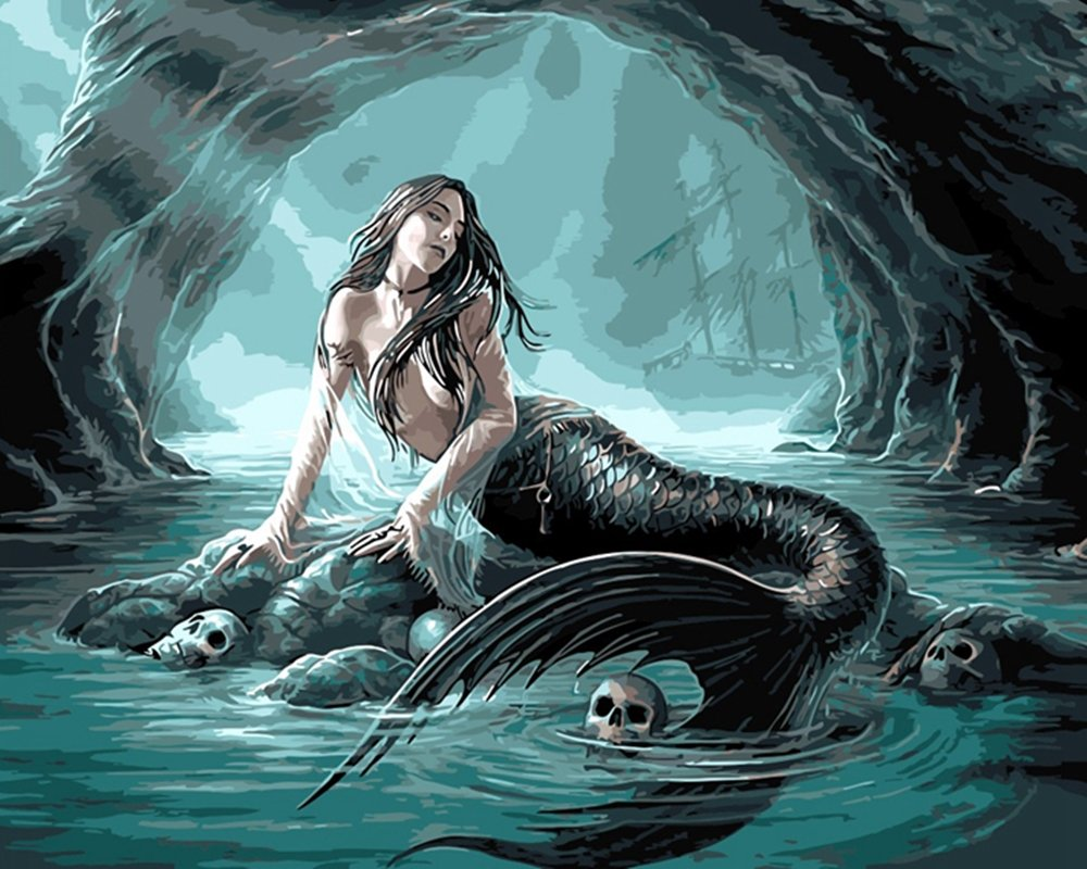 Mermaid Paint By Number Kits For Adults   Beautiful PBN Kits of Mermaids