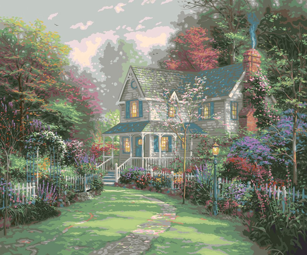 Paint by number victorian garden kits paint by number for Pre printed canvas to paint for adults