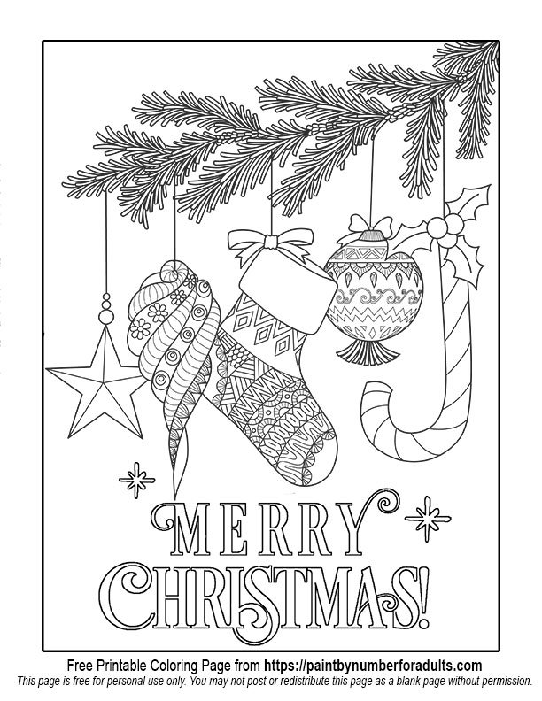 Free printable christmas coloring pages paint by number for Holiday coloring pages for adults