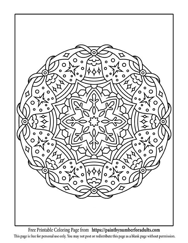 free printable christmas coloring pages paint by number for adults