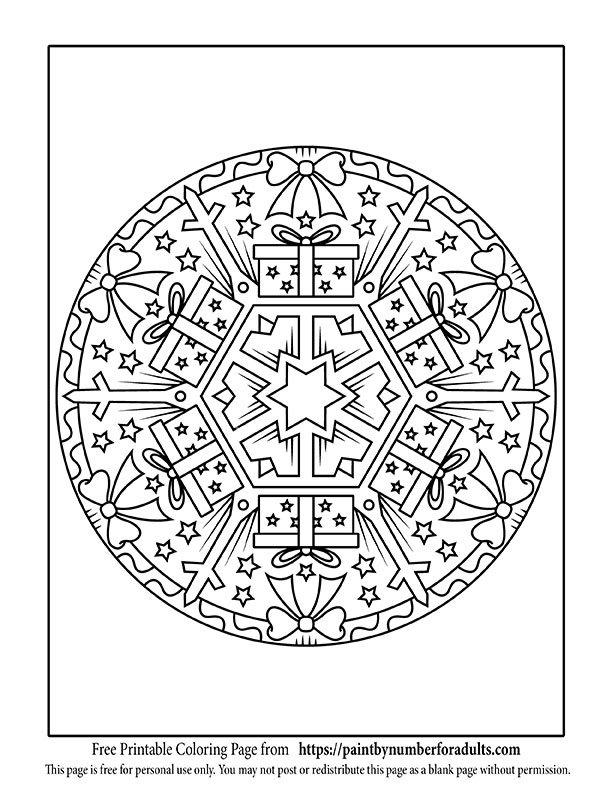 Christmas Gift Mandala Coloring Page