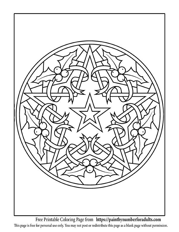 Free printable christmas coloring pages paint by number for Christmas star coloring page