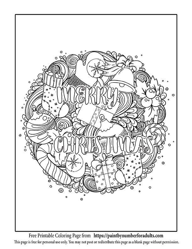 Merry Christmas Mandala Coloring Page