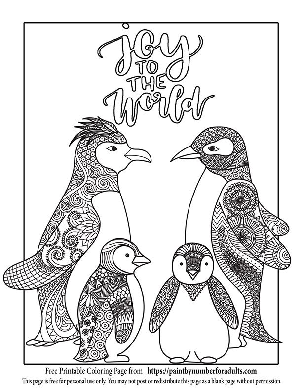 Free printable christmas coloring pages paint by number for adults christmas bell pattern coloring pageclick to download penquin family joy to the world publicscrutiny Images