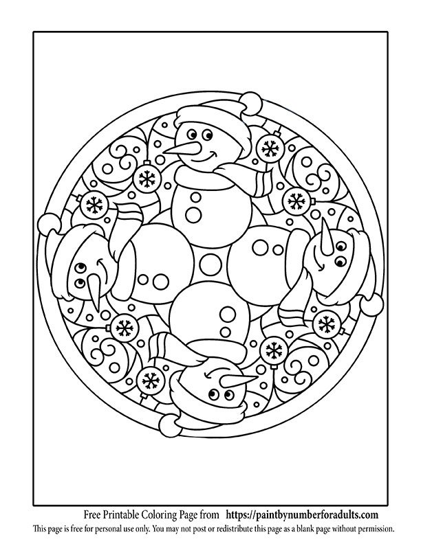 christmas bell mandalas coloring pagesclick to download snowman christmas mandala coloring page