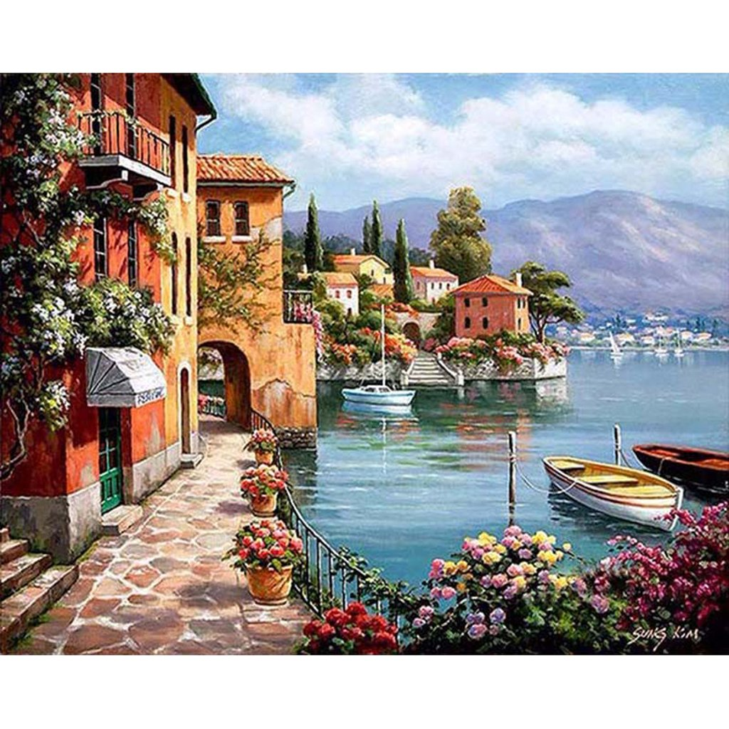 seascape paint by number kits for adults paint by number seascapes. Black Bedroom Furniture Sets. Home Design Ideas
