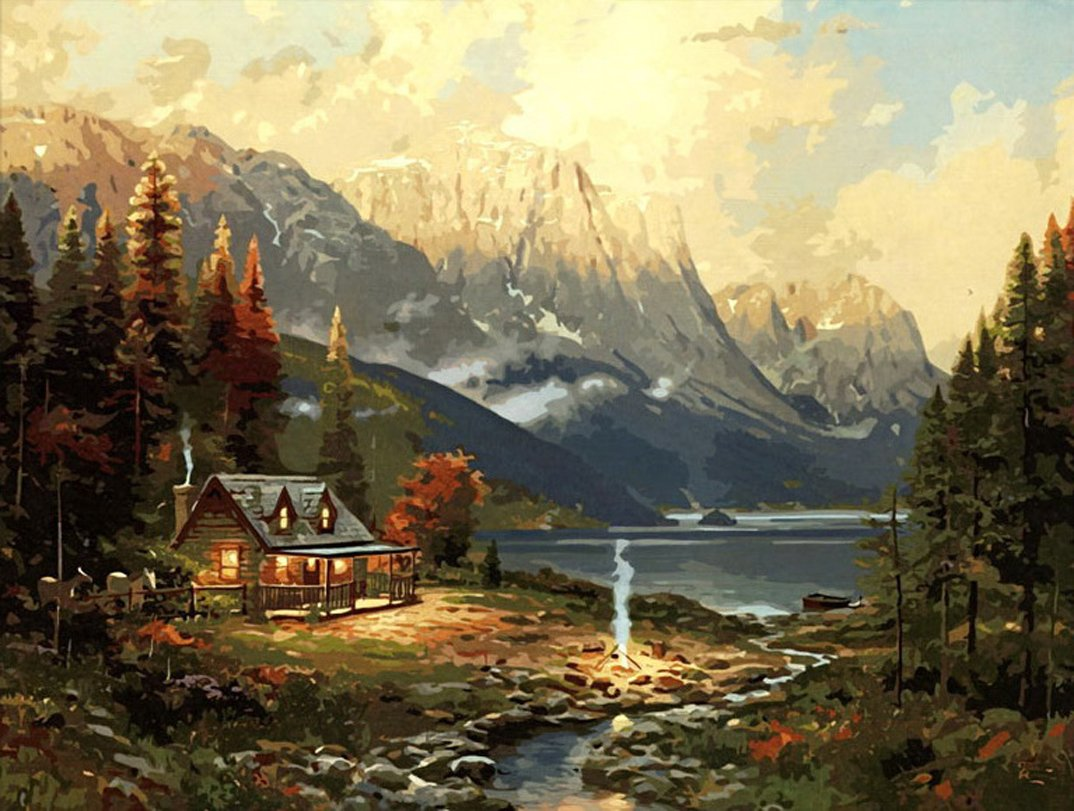 Paint by number kits of mountains paint by number for adults for Pre printed canvas to paint for adults