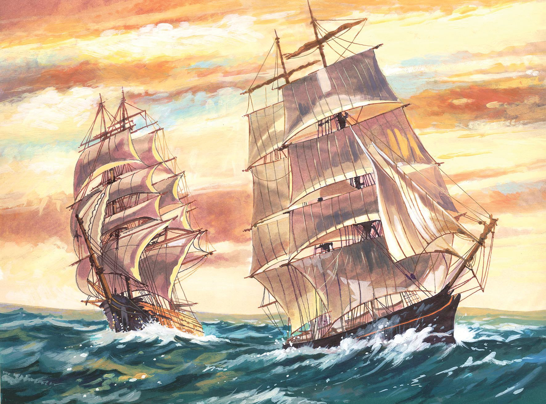 Ship paint by number kits pbn kits of pirate ships and for Pre printed canvas to paint for adults