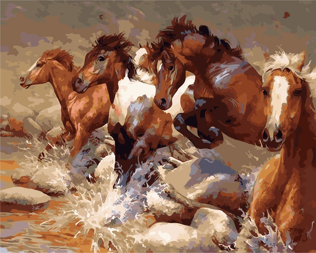 Horse paint by number kits paint by number for adults for Pre printed canvas to paint for adults